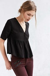 Alice And Uo Capucine Button Front Peplum Top Black And White