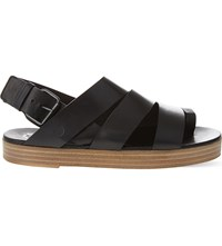 Marsell Toe Ring Leather Sandals Black