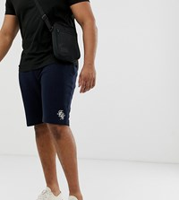 French Connection Plus Script Logo Jersey Shorts Navy