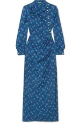 Miu Miu Embellished Silk Jacquard Maxi Dress Blue