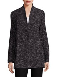 Eileen Fisher Tweed Knit Boyfriend Blazer Black