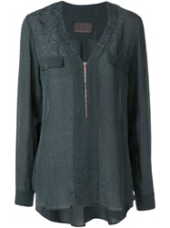 Ginger And Smart Panacea Zip Up Blouse Blue