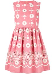 Red Valentino Embroidered Flower Dress Pink Purple