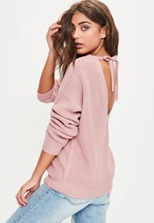 Missguided Pink Tie Back Plunge Knitted Jumper Rose