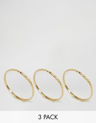 Asos Gold Plated Sterling Silver Pack Of 3 Etched Rings Gold