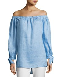 Neiman Marcus Off The Shoulder Linen Top Blue