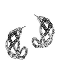 John Hardy Classic Chain Silver Lava Woven Braided Saddle Hoop Earrings With Black Sapphire Bloomingdale's Exclusive Silver Black