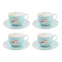 Pip Studio Early Bird Cappuccino Cup And Saucer Set Of 4 Blue