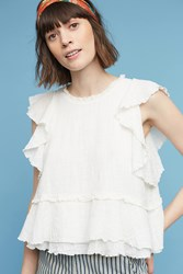 Anthropologie Cascade Tiered Shell White