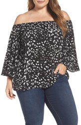 Vince Camuto Plus Size Women's Animal Whispers Bell Sleeve Blouse Rich Black
