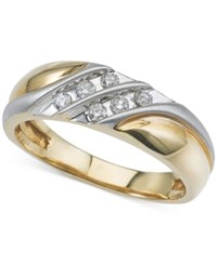 Macy's Men's Diamond Two Tone Wedding Band 1 4 Ct. T.W. In 10K Gold And White Gold Two Tone