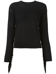 P.A.R.O.S.H. Fringed Detail Knitted Blouse Black