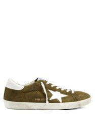 Golden Goose Super Star Low Top Suede Trainers Green Multi
