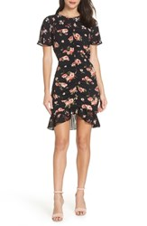 19 Cooper Center Ruched Ruffle Dress Black Floral