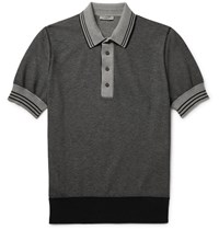 Bottega Veneta Contrast Tipped Knitted Cotton Polo Shirt Gray
