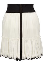 Isabel Marant Rena Tiered Beaded Cotton Voile Mini Skirt Ivory