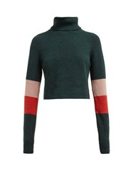 Lndr Piste Roll Neck Cropped Cotton Blend Sweater Green Multi
