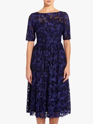 Adrianna Papell Embroidered Dress Blue Violet