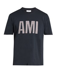 Ami Alexandre Mattiussi Logo Applique Cotton Jersey T Shirt Navy