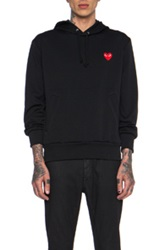 Comme Des Garcons Play Red Emblem Poly Hoodie In Black