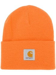 Carhartt Logo Patch Beanie Yellow And Orange