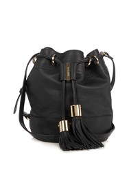 See By Chloe Vicki Medium Leather Cross Body Bucket Bag Black