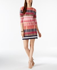 Jessica Howard Petite Mixed Grid Print Dress Plaid Multi