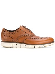 Cole Haan Ridged Sole Oxford Shoes Brown
