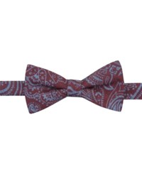 Countess Mara Denim Neat Pre Tied Bow Tie Red