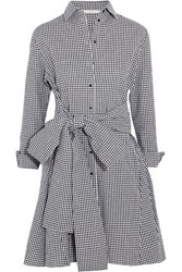 Maje Tie Front Gingham Cotton Mini Dress Black