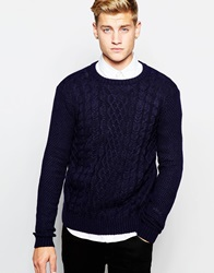 New Look Cable Knit Jumper With Crew Neck Navy