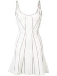 Herve Leger Flared Mini Dress White
