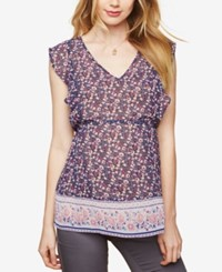 Motherhood Maternity Printed V Neck Blouse Multi Floral