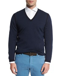 Ermenegildo Zegna Textured Cashmere Blend V Neck Sweater Navy