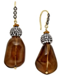 Paul And Pitu Naturally 14K Gold Plated Smoky Quartz Crystal Drop Earrings Multi