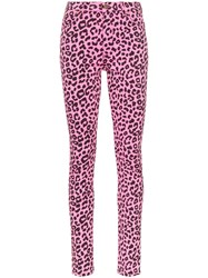 Gucci Leopard Print High Waisted Skinny Jeans Pink