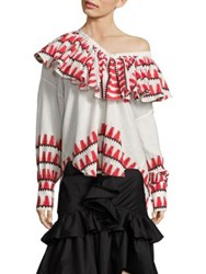 Tome Ruffle Peasant Blouse Red White