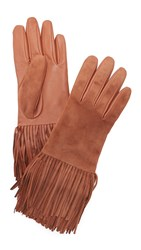 Carolina Amato Leather And Suede Fringe Gloves Camel