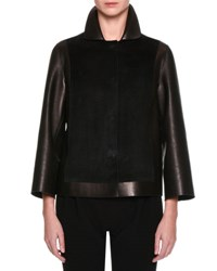 Giorgio Armani Suede And Leather Easy Jacket Black