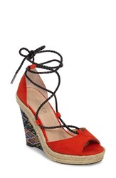 Charles By Charles David Women's Boston Platform Wedge Sandal Fire Micro Suede