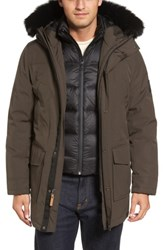 Uggr Men's Ugg Butte Water Resistant Down Parka With Genuine Shearling Trim Dark Olive