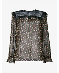 Philosophy Floral Print And Lace Silk Blouse Black Red Green Rose Denim
