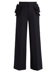 Muveil Ruffle Trimmed High Rise Trousers Navy