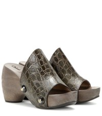 Chloe Embossed Leather Platform Clogs Green