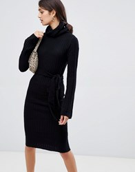 Girls On Film Knitted Midi Dress With Tie Front Detail Black