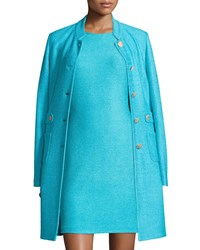 St. John Windy Knit Topper Jacket W Waist Tabs Aqua Blue