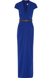 Badgley Mischka Embellished Draped Cady Gown Royal Blue