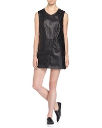 Max Studio Sleeveless Faux Leather Long Vest Black