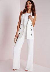 Missguided Sleeveless Double Breasted Tailored Blazer White Cream