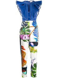 Genny Tropical Print Jumpsuit Blue
